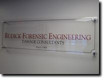 Acrylic Sign for Rudick Forensic Engineering by RG Graphix.